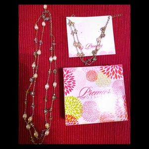 Premier Designs Silver w/ beads 2-pcs jewelry set